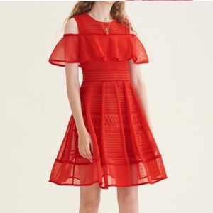 maje robe maile a vola rouge size 2
